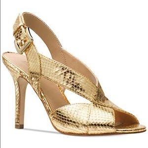 Michael Kors   Becky Gold Snakeskin Heels